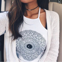 Moon Printed Crop Top