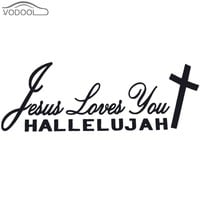 Car Styling Jesus Loves You Hallelujah Christian Reflective Car Sticker Automobiles Black Letter Reflective Decal Auto Decor