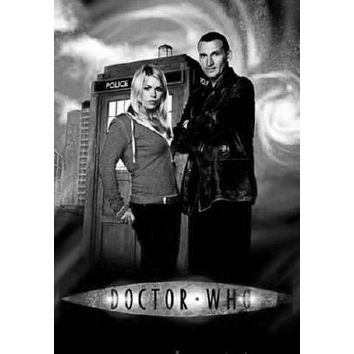 Doctor Who poster Metal Sign Wall Art 8in x 12in Black and White