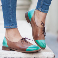 Women Leather Shoes, Leather Oxfords, Oxford Shoes, Painted Leather Shoes, Closed Shoes, Green Shoes, Free Shipping