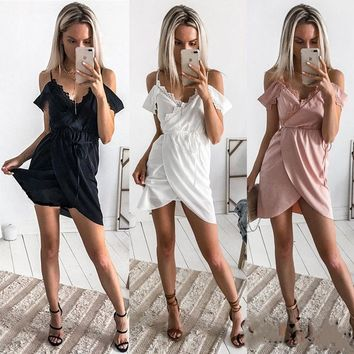 Summer Women Trendy Off Shoulder Floral New Lace Strappy Irregular Casual Beach Lace up Mini Dress Ruffle Slim