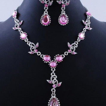 Pink Sapphire Amethyst Ruby Vintage Jewelry Sets Necklace Earrings Bridal Wedding Engagement Jewelry Accessories Crystal Sets