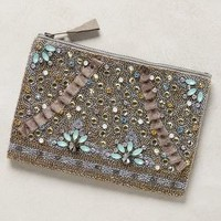 Myra Embellished Pouch by Anthropologie Light Grey All Clutches