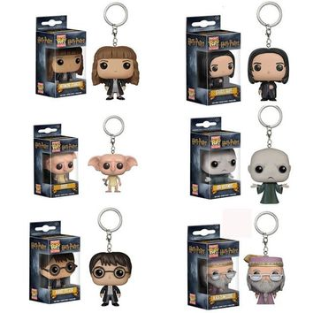 FUNKO   POP Harry Potter Series Q Version Key Ring Hermione Granger Lord Voldemort Severus Snape Dobby With  Box
