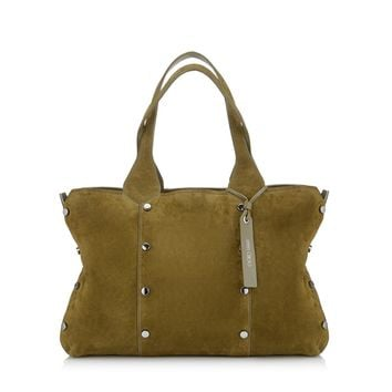 Jimmy Choo Lockett Suede & Metallic Shopper Green Olive Steel Satchel Handbag Tote