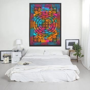 Tie Dye Elephant Mandala Print Boho Indian Tapestry Hippie Bohemian Bedspread Wall Hanging for Home Decor 80 X 60 inches Cotton Tapestry