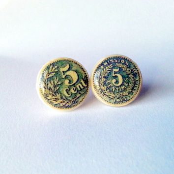 Coin Earrings, Coin Studs, Antique Five Cent Studs, Vintage Coin Studs, Money Earrings, Money Jewelry, Coin Jewelry, Green Money Earrings
