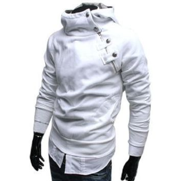NEW Fashion Mens Fleece Inside Hoodie Jacket Sweatshirt White S