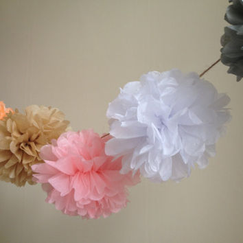 "Tissue Paper PomPoms Garland - Wedding Pom Poms, Paper Pompom, Tissue Pompoms, Baby Shower, DIY Wedding Garland, Gender Reveal - 6 x 8"" Poms"