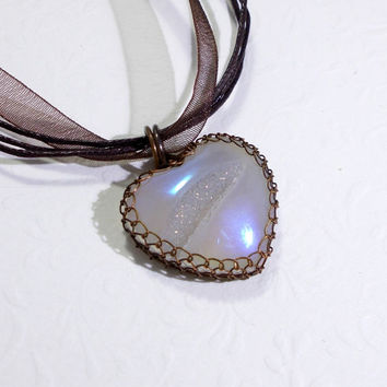 Agate Druzy Heart Pendant Necklace, Wire Wrapped Rustic Copper Jewelry, OOAK