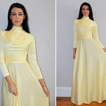 Vintage 70s METALLIC Maxi Dress / Pastel Yellow / Shiny Disco / Draped Bust, High Collar, Long Sleeve / Special Occasion, Prom Elegant / XS