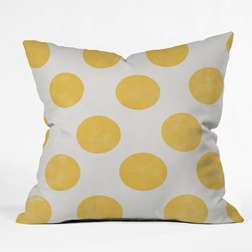 Allyson Johnson Spring Yellow Dots Throw Pillow