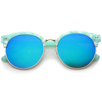 Oversize Half Frame Marble Moon Cut Mirror Lens Sunglasses A244
