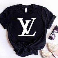 Lv Hot Letters Print T Shirt Top
