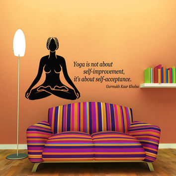 Wall Decals Girl Quote Yoga Is About Self-acceptance Meditation Studio Art Decal Vinyl Sticker Interior Design Mural Kids Room Decor KG813