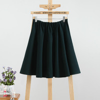 Elastic Waist Pleated A-Line Mini Skirt