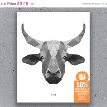 Cow Poster Printable Geometric Typography Print Black White Polygon Animal Art Retro Art Print Instant Download Digital Print