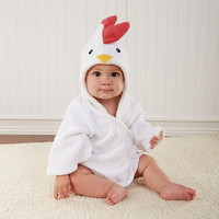 "Baby Aspen BA14024NA ""Barnyard Bathtime"" Chicken Hooded Spa Robe"