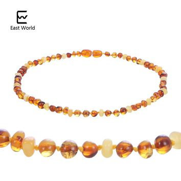EAST WORLD Natural Amber Necklace Supply Certificate Authenticity Genuine Baltic Amber Beads Baby Necklace Jewelry for Adult Kid