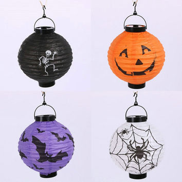 Halloween Decoration LED Paper Pumpkin Light Hanging Lantern Lamp Halloween Props Bat Skull Spider Decor Outdoor Party Supplies