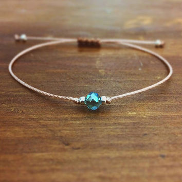 Aqua Emerald Crystal Friendship Bracelet - Best Friend Gift - Best Friend Bracelet - bridesmaid gift - Best Friend Birthday - Gift for her