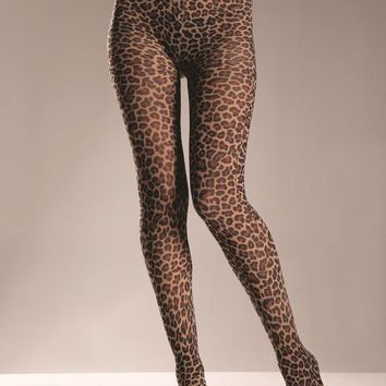 Bewicked Female Nylon Leopard Tights.. BW615