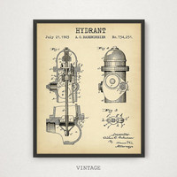 Fire Hydrant Patent Print, Firefighter Printable, Fireman Art, Firefighter Poster, Firefighter Decor, Vintage Patent Print, Firefighter Gift