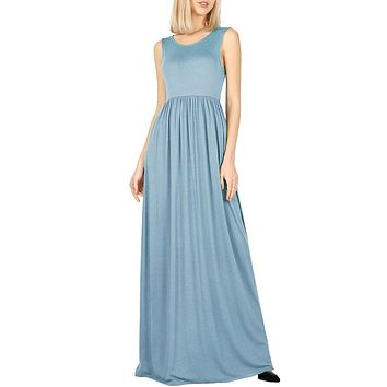 Solid Scoop Neck Shirring Waist Sleeveless Long Maxi Dress