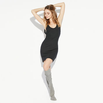 Black Sleeveless U-shaped Mini Dress