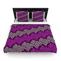 "Deepti Munshaw ""Pattern #2"" Chevron Purple Lightweight Duvet Cover"