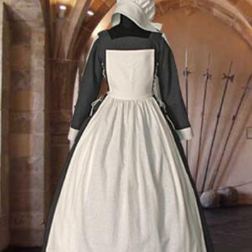 Medieval Farmer Servant Dress Renaissance Gown with Hood 100% Cotton Costume Clothing Handmade