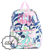 Monogrammed Navy Pink Floral Paisley backpack