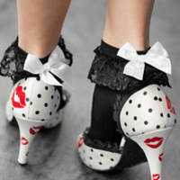 Socks by Sock Dreams » .Socks » Anklets » Lace Ruffle Anklets with Bow