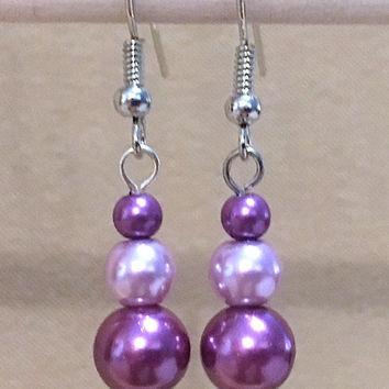 Purple & Lavender Graduated Pearl Dangle Earrings, Handmade Simple Fashion Jewelry, Classic Elegant Sophisticated Glamorous Custom Wedding