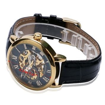 Luxury Mens Steampunk Skeleton Stainless Steel Automatic Mechanical Wrist Watch