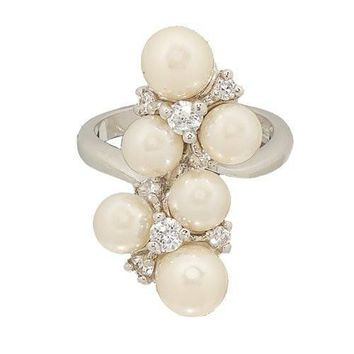 Sparkly Simulated Pearl and Cubic Zirconia Cluster Cocktail Ring