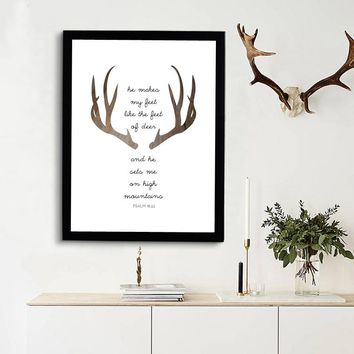 Deer Bible Verse Christian Wall Art - Unframed Canvas Print Poster