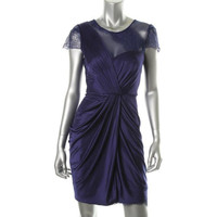 BCBG Max Azria Womens Mercedes Matte Jersey Lace Trim Cocktail Dress
