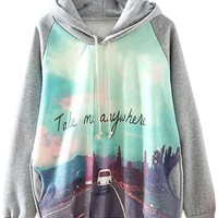 Sheinside Grey Hooded Long Sleeve Car Print Sweatshirt Hoodies (M, Grey)