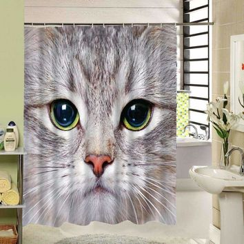 Cool Cat Dog Animal Design Polyester Shower Curtain 3D Fabric Print Bath Liner Set for Bathrooom Decor