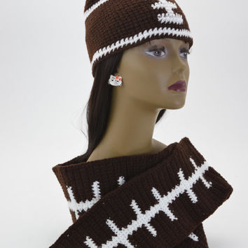 Crochet football hat , Crochet football scarf combo