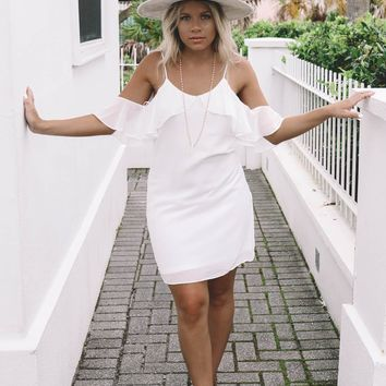 SZ LARGE Carried Away White Off Shoulder Dress