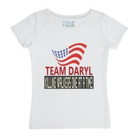 Team Daryl Killing Walkers One At A Time-Female White T-Shirt