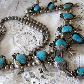 Vintage Sterling Navajo Squash Blossom Necklace