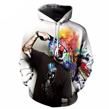 Hoodies With Cap Print Gun Clown Hooded Hoody Sweatshirt 3D