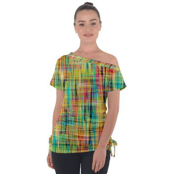 Yellow Blue Red Stripes Off Shoulder Tie Up Tee Off Shoulder Tie-Up Tee
