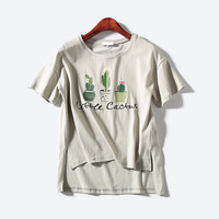 Womens LITTLE CACTUS Embroidered T-shirt