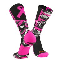 TCK Woodland Camo Elite Breast Cancer Aware Football Baseball Crew Socks