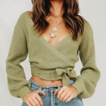 New sweater autumn and winter loose with lantern sleeves V-neck sweater cardigan