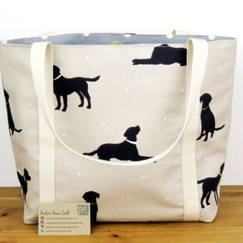 Canvas handbag for dog lovers, Dalamation fabric purse, Gift for Mothers Day,, Lined tote shopping bag,  Medium size animal bag